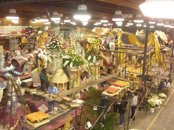 Pasadena Rose Parade float barn