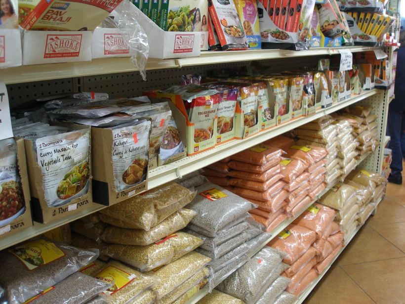 Grocery store in Little India with spices, beans and grains