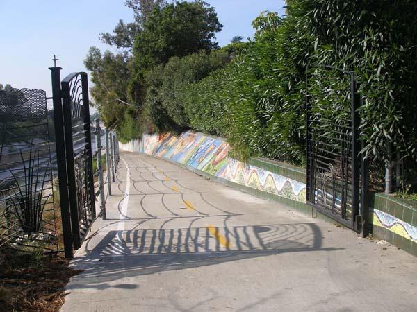 Ballona Creek bikepath gates with mural