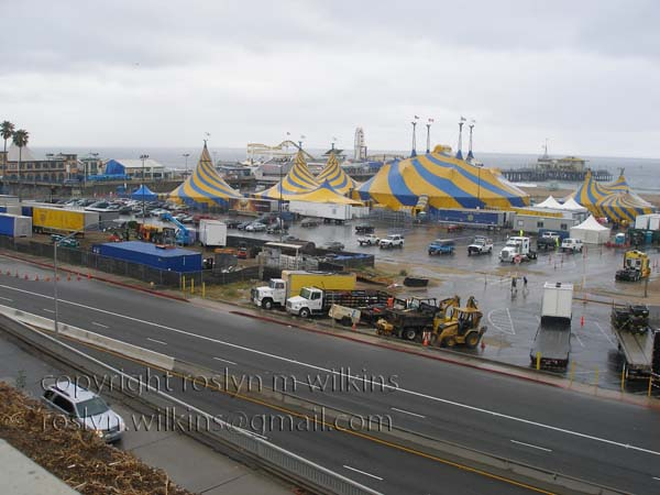 Pacific Coast Highway with Cirque du Soleil tents at Santa Monica Pier