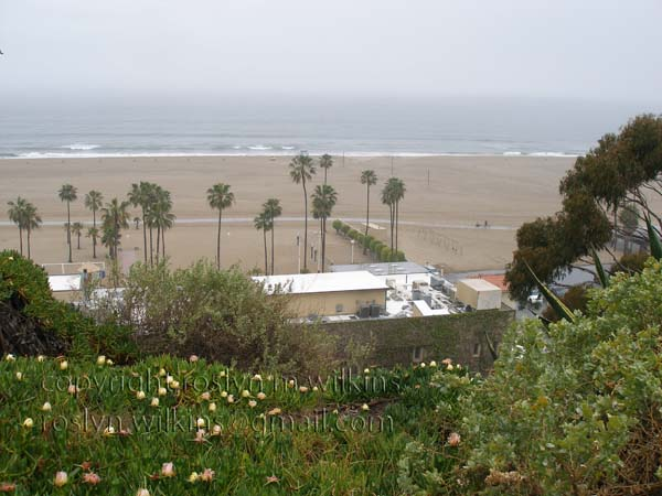 Santa Monica beach in the rain