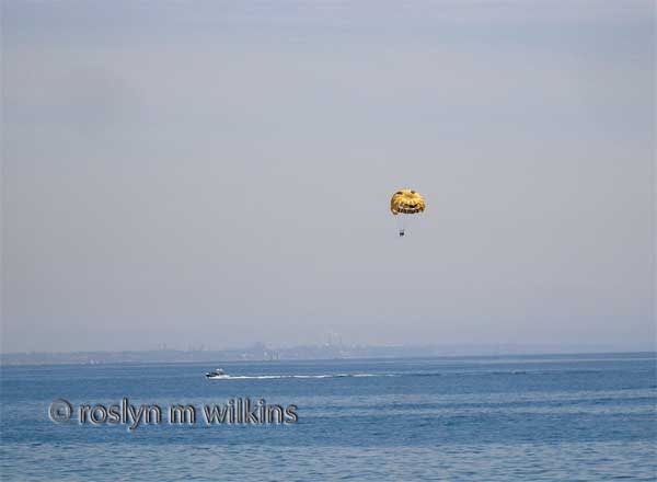 Parasailing off the Malibu coast