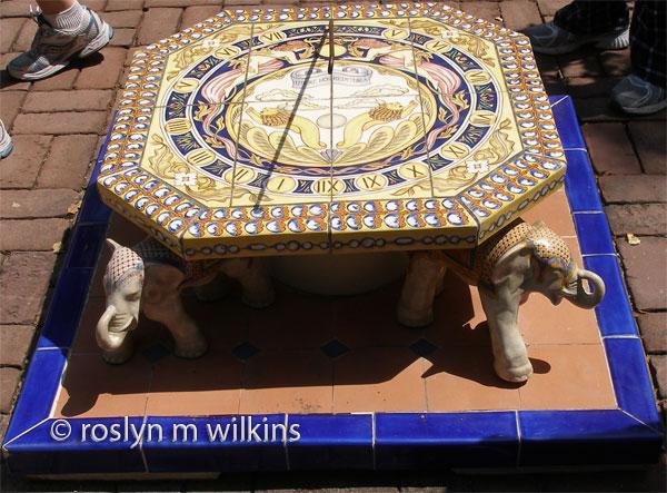 Tiled sundial with elephants