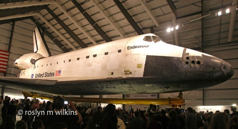 Space Shuttle Endeavour showing all the wear and tear on her exterior