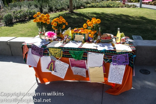 Table of marigolds
