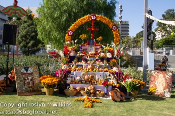 Fruits and marigolds