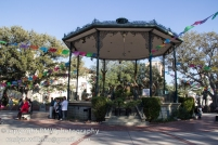 Gazebo in La Plaza with nativity scene