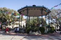 Gazebo in La Plaza with nativity scene
