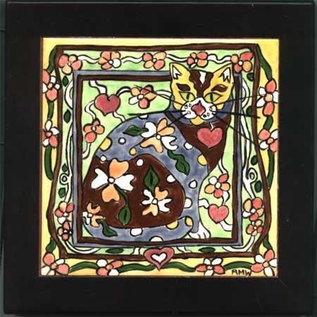 art nouveau cat tiles